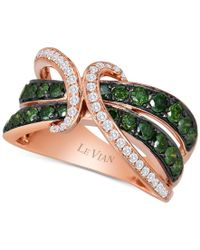 Le Vian | Multicolor Exotics Gladiator Green And White Diamond Ring (1 1/4 Ct. T.w.) In 14k Rose Gold | Lyst