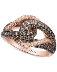 Le Vian | Metallic Chocolatier Gladiator Knot White And Chocolate Diamond Ring (1-1/2 Ct. T.w.) In 14k Rose Gold | Lyst