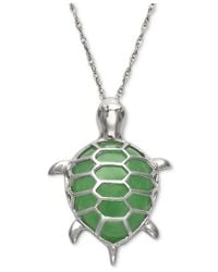 Macy's | Metallic Dyed Jadeite Turtle Pendant Necklace In Sterling Silver | Lyst