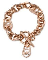Michael Kors | Metallic Logo Lock Toggle Bracelet | Lyst