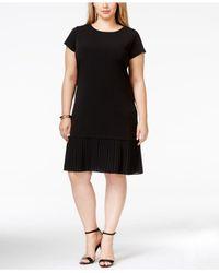 Michael Kors | Black Michael Plus Size Cap-sleeve Pleated-flounce Dress | Lyst