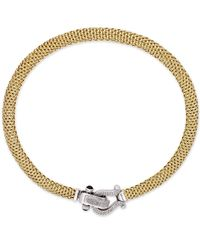 Macy's Metallic Diamond Horseshoe Clasp Mesh Necklace (5/8 Ct. T.w.) In 14k Gold-plated Sterling Silver