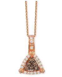 Le Vian | Metallic Chocolate And Vanilla Diamond Triangle Pendant Necklace (1/4 Ct. T.w.) In 14k Rose Gold | Lyst