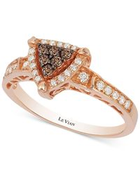 Le Vian   Metallic Neo Geo Chocolatier Chocolate And Vanilla Diamond Triangle Ring (1/3 Ct. T.w.) In 14k Rose Gold   Lyst