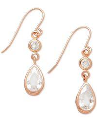 Macy's | Pink Cubic Zirconia Double Drop Earrings In 14k Yellow, White Or Rose Gold | Lyst