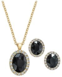 Charter Club - Metallic Gold-tone Jet Crystal And Pave Pendant Necklace And Stud Earrings Set, Only At Macy's - Lyst