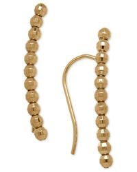 Macy's | Metallic Curved And Beaded Ear Crawler Earrings In 14k Gold | Lyst