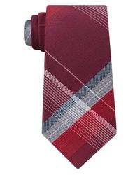 Kenneth Cole Reaction - Red Men's Open Ground Plaid Silk Tie for Men - Lyst