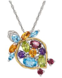 Macy's | Blue Multi-gemstone Turtle Pendant Necklace (2-1/2 Ct. T.w.) In Sterling Silver And 14k Gold-plated Sterling Silver | Lyst