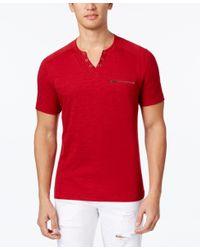 INC International Concepts | Red Men's Dean Split-neck T-shirt, Only At Macy's for Men | Lyst
