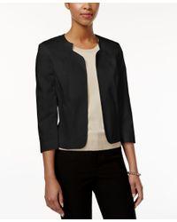 Tahari   Black Three-quarter-sleeve Open-front Jacket   Lyst