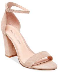 Madden Girl | Natural Bella Block-Heeled Suede Sandals | Lyst