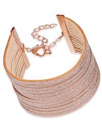 INC International Concepts - Rose Gold-tone Pink Sparkle Faux Leather Bracelet - Lyst