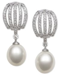 Macy's - Metallic Cultured Freshwater Pearl (8mm) And Cubic Zirconia Drop Earrings In Sterling Silver - Lyst