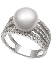 Macy's - Metallic Cultured Freshwater Pearl (10mm) And Cubic Zirconia Multi-row Statement Ring In Sterling Silver, Size 6-8 - Lyst