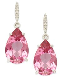 Macy's | Pink Topaz (8-1/2 Ct. Tw.) And Diamond Accent Drop Earrings In Sterling Silver | Lyst