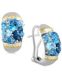 Effy Collection | Ocean Bleu By Effy Blue Topaz Earrings (6 Ct. T.w.) In Sterling Silver And 18k Gold | Lyst