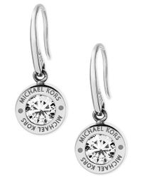 Michael Kors | Metallic Bezel Set Crystal Logo Drop Earrings | Lyst