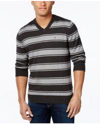 Tommy Hilfiger - Gray Men's Striped V-neck Sweater for Men - Lyst