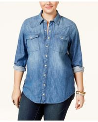 Lucky Brand | Blue Jeans Trendy Plus Size Button-down Denim Shirt | Lyst
