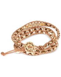 Lonna & Lilly | Gold-tone Brown Cord Beaded Wrap Bracelet | Lyst