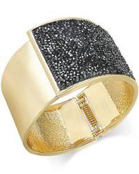 INC International Concepts | Black Ose Gold-tone Glittery Wide Hinged Bangle Bracelet | Lyst