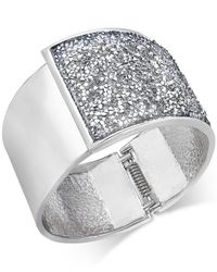 INC International Concepts | Metallic Ose Gold-tone Glittery Wide Hinged Bangle Bracelet | Lyst
