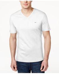 Michael Kors | White Men's V-neck Liquid Cotton T-shirt for Men | Lyst