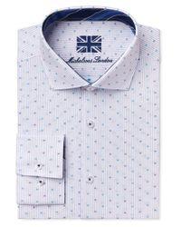 Michelsons Of London - Of London Men's Slim-fit Light Blue Stripe Dot Dress Shirt for Men - Lyst