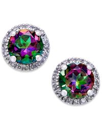 Macy's | Metallic Mystic Topaz (1-3/4 Ct. T.w.) And Diamond (1/6 Ct. T.w.) Round Stud Earrings In 14k White Gold | Lyst
