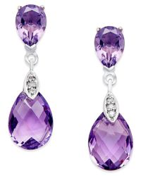 Macy's | Metallic Amethyst (4-1/2 Ct. T.w.) And Diamond Accent Drop Earrings In 14k White Gold | Lyst