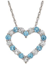 Macy's | Blue Aquamarine (5/8 Ct. T.w.) And White Topaz (3/4 Ct. T.w.) Heart Pendant Necklace In 14k White Gold | Lyst
