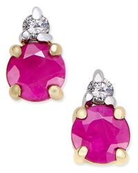 Macy's | Pink Ruby (5/8 Ct. T.w.) And Diamond Accent Stud Earrings In 14k Gold With 14k White Gold Accents | Lyst