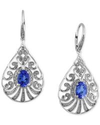 Effy Collection | Blue Tanzanite Royale By Effy Tanzanite (2-1/4 Ct. T.w.) And Diamond (1/3 Ct. T.w.) Drop Earrings In 14k White Gold | Lyst