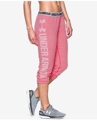 Under Armour   Pink Favorite Fleece Capri Pants   Lyst