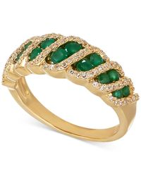 Macy's | Metallic Emerald (5/8 Ct. T.w.) And Diamond (1/4 Ct. T.w.) Ring In 14k Gold | Lyst