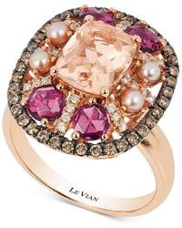 Le Vian | Pink Chocolatier Multi-gemstone (2-1/2 Ct. T.w.) Pearl (2-1/2mm) And Diamond (2/5 Ct. T.w.) Ring In 14k Rose Gold | Lyst