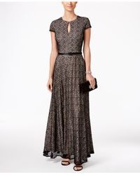 Alex Evenings | Black Textural Belted Evening Gown | Lyst