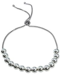 Giani Bernini | Metallic Beaded Box-link Adjustable Bracelet In Sterling Silver, Only At Macy's | Lyst