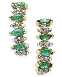 Macy's   Green Emerald (3/4 Ct. T.w.) And Diamond (1/4 Ct. T.w.) Earrings In 14k Gold   Lyst