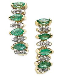 Macy's | Green Emerald (3/4 Ct. T.w.) And Diamond (1/4 Ct. T.w.) Earrings In 14k Gold | Lyst