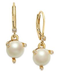 kate spade new york   Metallic Gold-tone Imitation Pearl Drop Earrings   Lyst