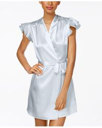 Oscar de la Renta | Blue Flutter-sleeve Satin Wrap Robe | Lyst