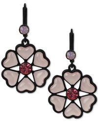 Betsey Johnson | Black-tone Heart Flower Drop Earrings | Lyst