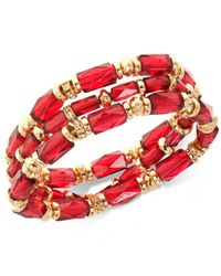 Nine West | Gold-tone 3-pc. Set Pavé & Red Bead Stretch Bracelets | Lyst