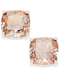 Kate Spade - Pink Speckled Stone Square Stud Earrings - Lyst