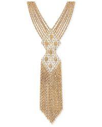 2028 - Metallic Gold-tone Multi-chain Decorative Tassel Statement Necklace - Lyst