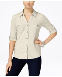 Style & Co. | Natural Petite Jersey Utility Shirt, Only At Macy's | Lyst