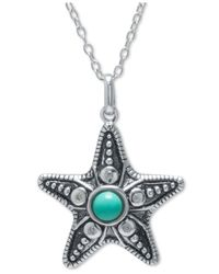 Macy's | Green Manufactured Turquoise Starfish Pendant Necklace In Sterling Silver | Lyst