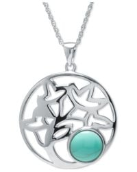 Macy's - Metallic Manufactured Turquoise Decorative Disc Pendant Necklace In Sterling Silver - Lyst